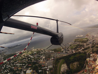 Flying Robinson R44 Over Tallinn