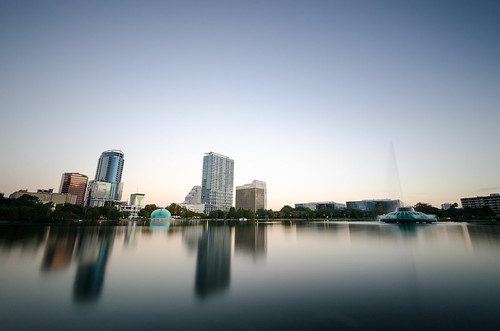 longexposure usa lake fountain skyline sunrise landscape orlando downtown florida unitedstatesofamerica northamerica fl lakeeola wideanglelens lakeeolapark