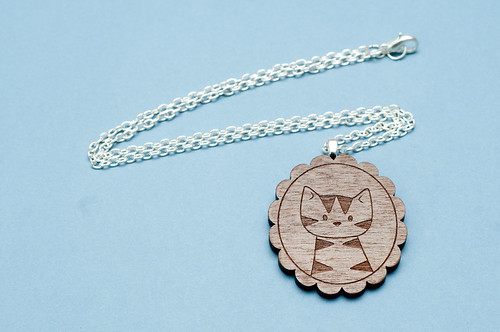 Walnut Cat Necklace