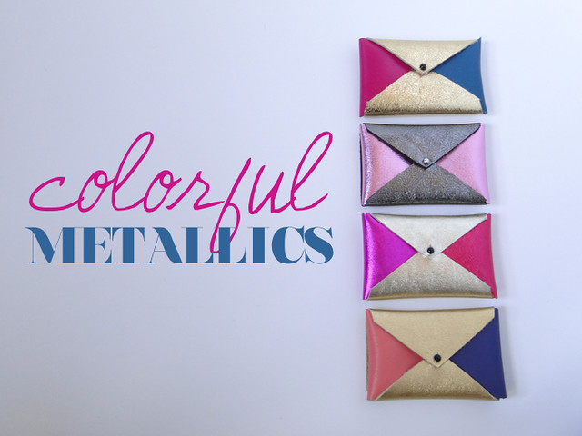 Coloful Metallics Color Block Card Cases by Etsy seller Fabric Paper Glue