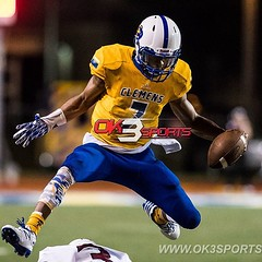 Clemens Frank Harris leaping over Round Rock defense, during football game on Friday, August 26, 2016 in Schertz, TX. #ok3sports #sportsphotography #football #gobuffs #nikonphotography