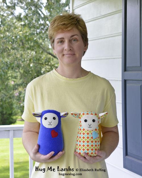 Plush Stuffed Animal Art Toys, Hug Me Lambs by Elizabeth Ruffing