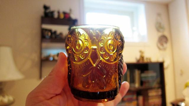 vintage glass owl votive