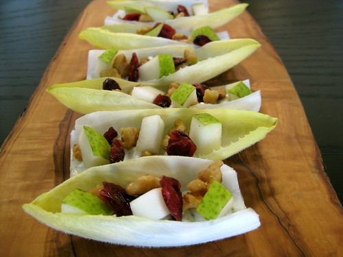 endive spears with whipped blue cheese, maple walnuts, cranberries and pears