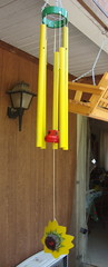 Windchime made from recycled items.