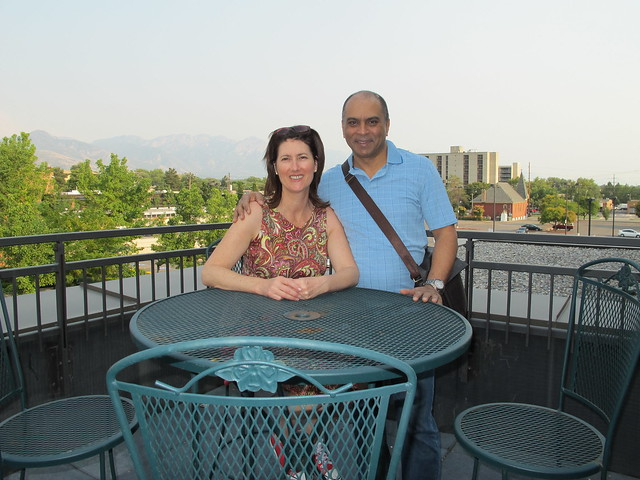 Vicki & Claude Fullinfaw in Salt Lake City- The Balcony over looking the mountains