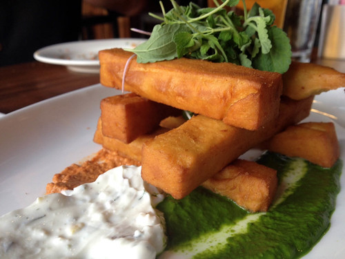 Edison Food + Drink Lab - chick pea fries with mint puree, house labne, rocoto walnut muhamarra