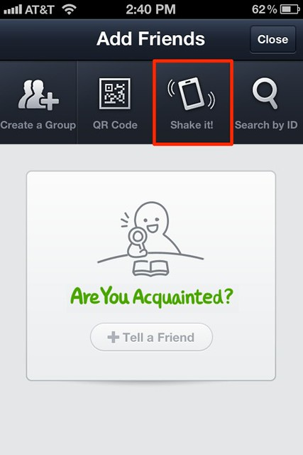 LINE - iPhone - Add Friends - Shake it!