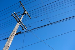 electrical supply, overhead power line, line, electricity, blue, sky, public utility,