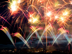 [Free Images] Backgrounds, Fire / Flame, Fireworks, Landscape - Japan ID:201208260400