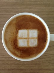 Today's latte, brand new Microsoft logo.