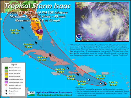 Tropical Storm Isaac as of August 23 at 2pm EDT.