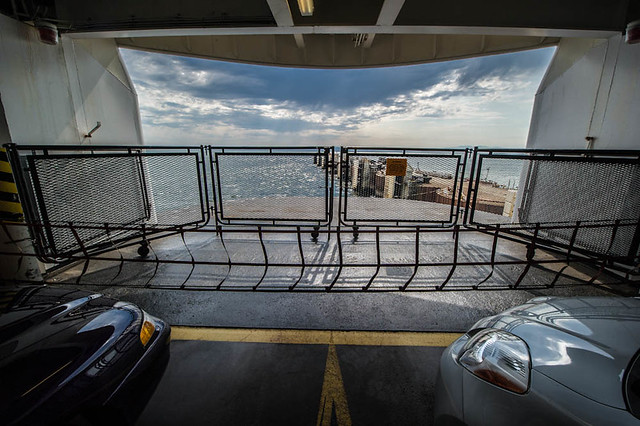Inside the ferry deck