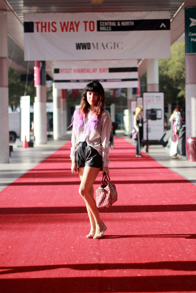 MAGIC tradeshow blogger outfit Acne Shining Button Down, Lucca Couture shorts, Dior purse, Chloe ballet flats with straps