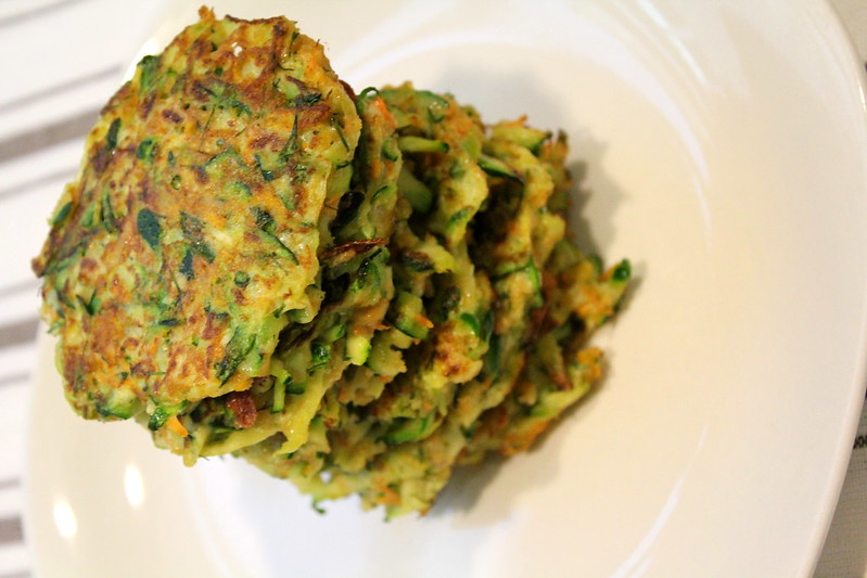 zucchini carrot and provolone fritters