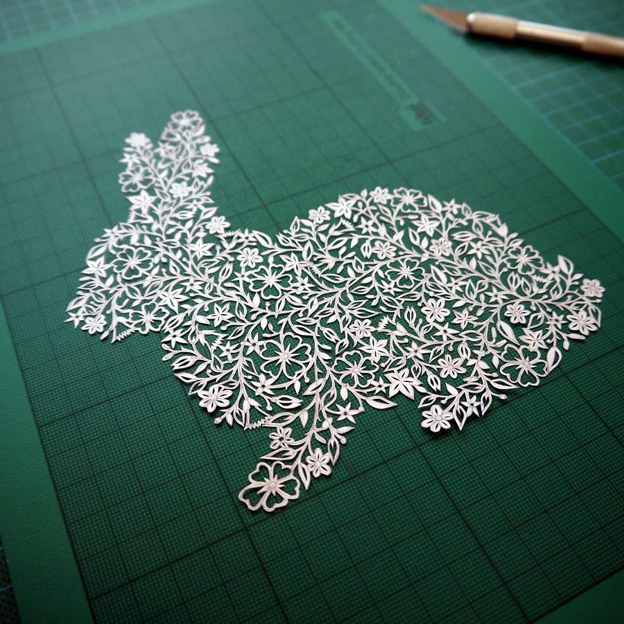 Rabbit Papercut Topiary