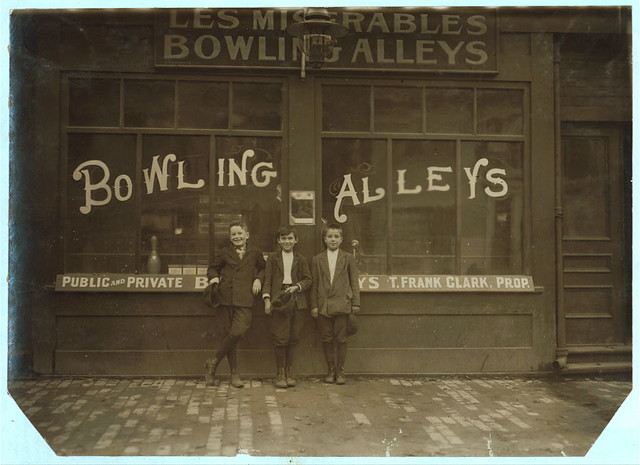 Pin boys in Les Miserables Alleys, Frank Jarose, 7 Fayette St., Mellens Court, said 11 years old, made $3.72 last week... (LOC)