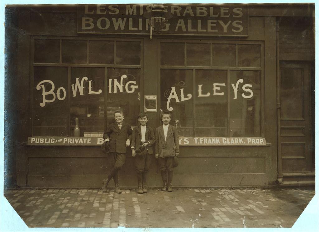Pin boys in Les Miserables Alleys ... Location: Lowell, Massachusetts (LOC)