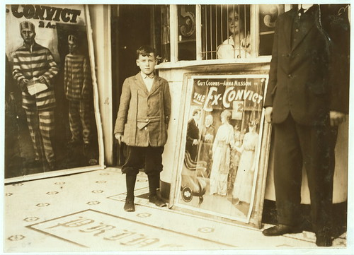 Brown McDowell 12 year old usher in Princess Theatre. Works from 10 A.M. tp 10 P.M. Can barely read; has reached the second grade in school only. Investigator reports little actual need for earnings.  (LOC)