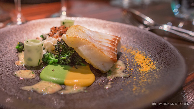 Pan Fried Cod, Broccoli Puree, Pickled Cauliflower, Ruby Grapfruit, Brioche and Black Onion Seeds