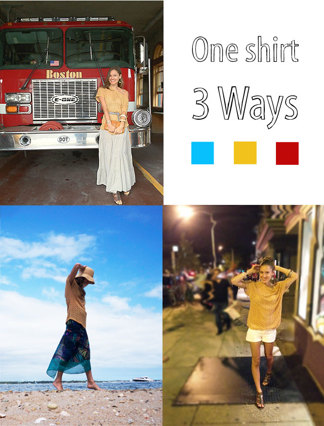 one shirt 3 ways, fair vanity, rachel mlinarchik, fashion blog, made in USA, staring at stars, crochet, OOTD