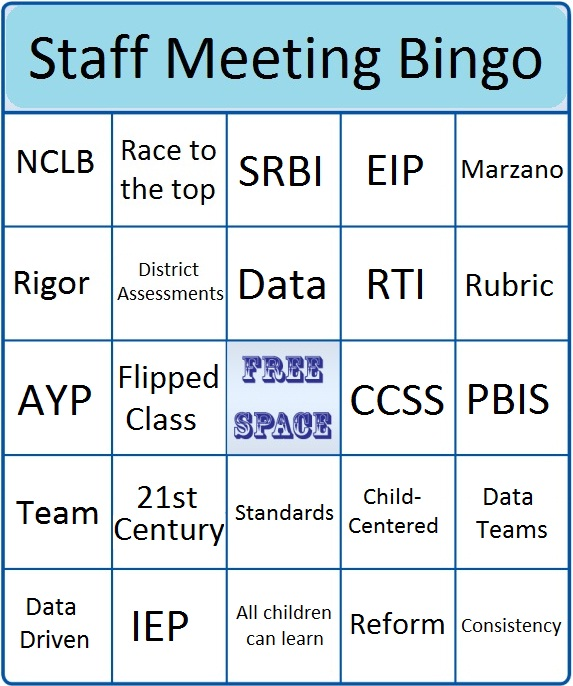 staff meeting bingo