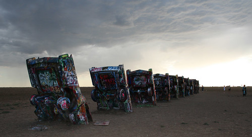Cadillac Ranch at dusk.