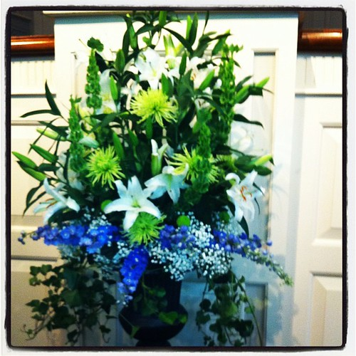 Beautiful flowers at our church today in memory of my precious son.