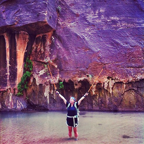 Hiking up the Narrows through the Virgin River at Zion. Best hike ever.