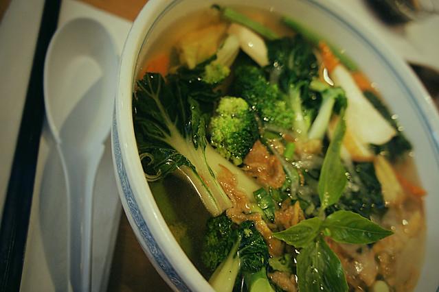 Devouring delicious pho soup