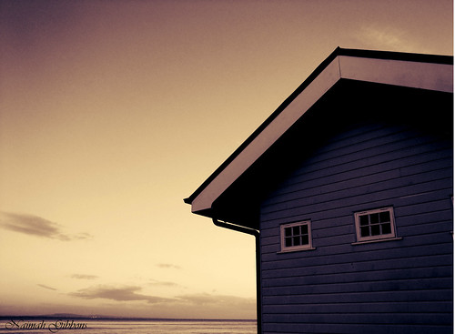 The wooden hut..