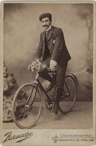 Mustachioed Man on Bicycle - Cabinet Card from Constantinople by Photo_History