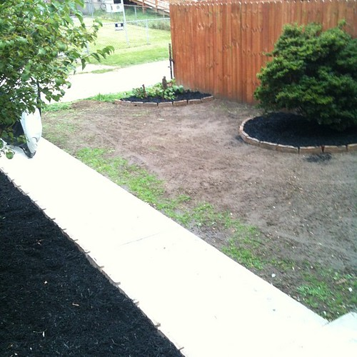 Mulching is done and grass seed is watered.