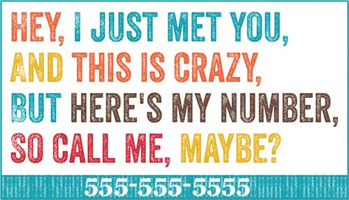 Colorful Here\'s My Number Business Cards