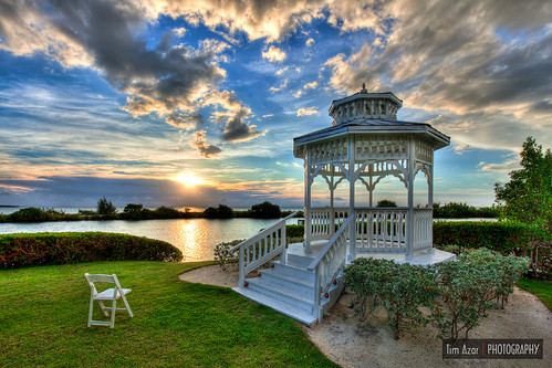 ocean blue sunset summer sky sun white green water grass architecture clouds sunrise landscape chair florida cloudy gazebo hdr floridakeys hawkscay 3exposures duckkey nikdfine photomatixpro4 timazar