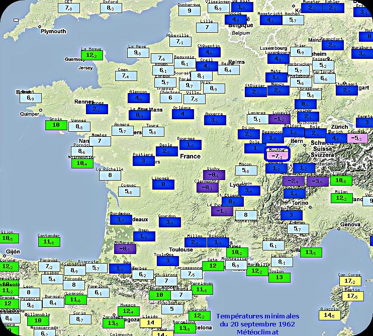 températures minimales très fraîches et record de froid à Mouthe le 20 septembre 1962 météopassion