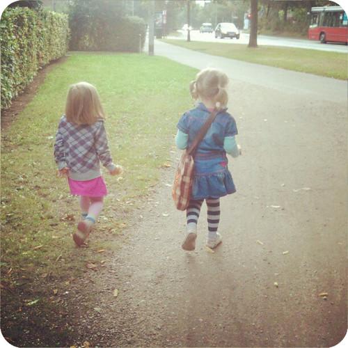 girls off to school