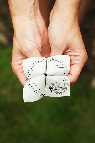 Cootie catcher or fortune teller wedding favor.