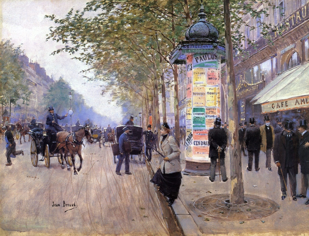 Hailing a Cab outside the Cafe Americain by Jean-Georges Béraud - circa 1890