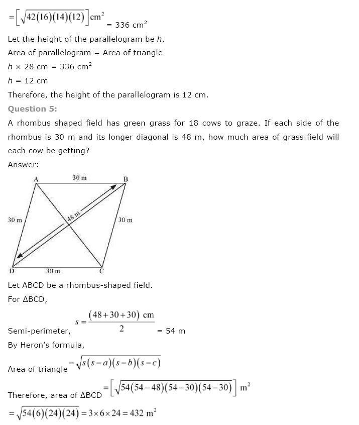 NCERT Solutions for Class 9th Maths Chapter 12 Heron's Formula