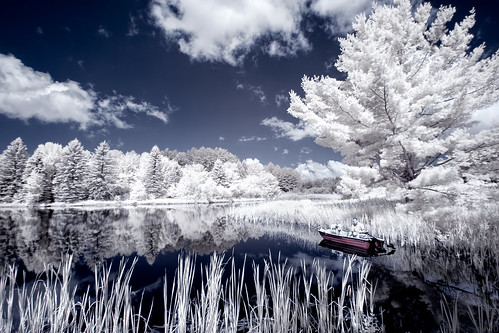 travel lake ny newyork reflection metal clouds print landscape ir photography photo fishing scenery gallery image fineart stock scenic picture canvas filter license infrared converted falsecolor gilboa 720nm invisiblelight convertedcamera whitefoliage mikeorso