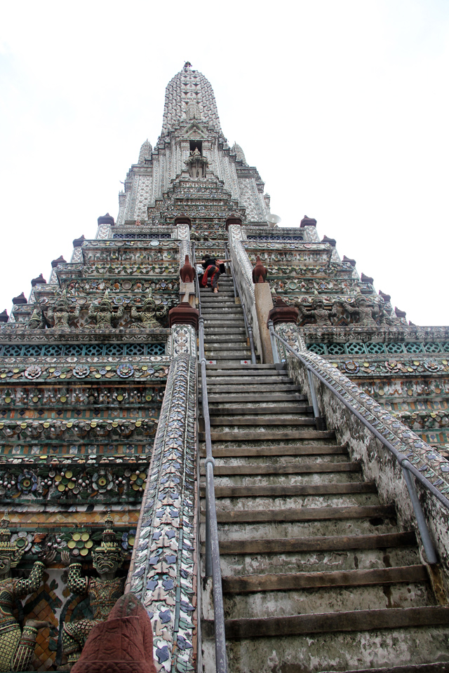 Climbing the staircase to the top level