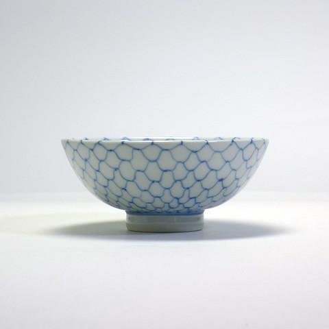 砥部焼 陽貴窯「丸茶碗/編目文(小)」