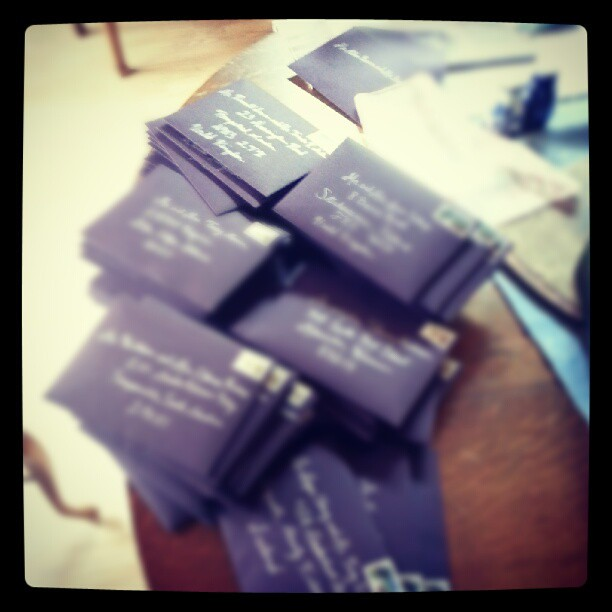 Time to pack up months of planning and craftiness. Fly, little invites, fly! #wedding