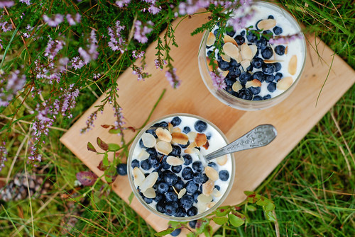 blueberries with amaretto and sour cream sauce