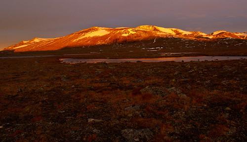 autumn mountain snow mountains norway sunrise norge noorwegen valdresflya klaracolor