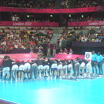 Pre-match huddle for Montenegro and Angola