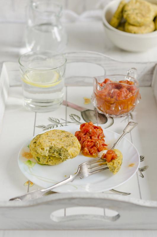 _chickpea pancakes with tomato jam