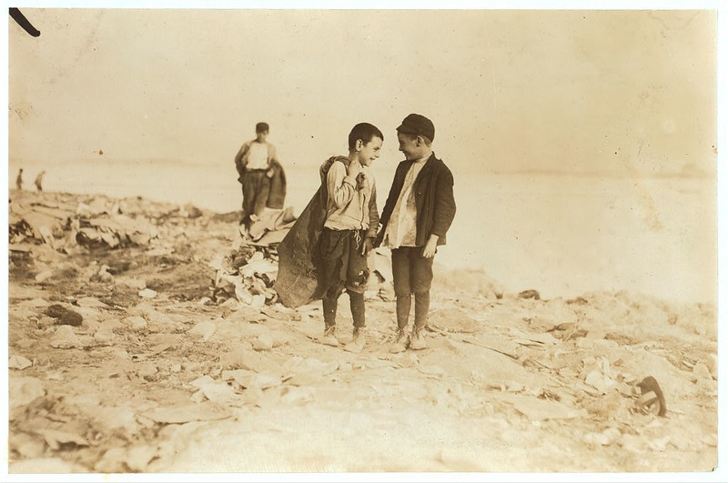 "Boys picking over garbage on ""the Dumps."" Boston. See 906-907. Location: Boston, Massachusetts. (LOC)"