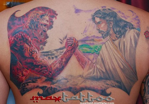 God And The Devil Arm Wrestling Tattoo | www.imgkid.com ...